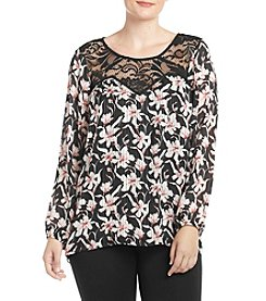 AGB® Plus Size Floral Print Top