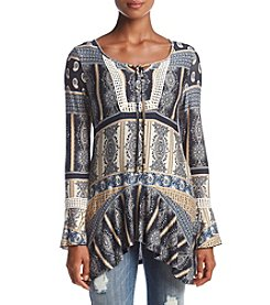 Oneworld® Print Tassel Neck Top