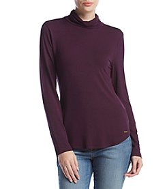 Calvin Klein Curved Hem Turtleneck Top