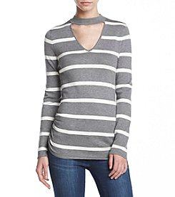 Love Always Cut Out Striped Fine Gauge Top