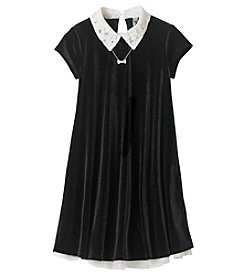 Beautees Girls' 7-16 Short Sleeve Velvet Swing Dress