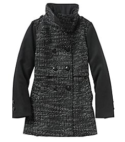 London Fog® Girls' 7-16 Tweed Double Breasted Wool Coat