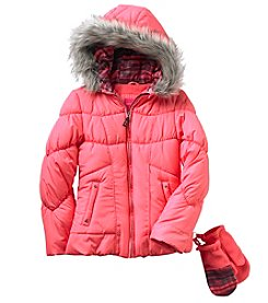 London Fog® Girls' 7-16 Fur Trim Puffer Coat
