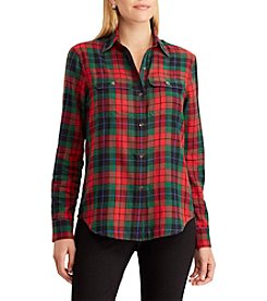Chaps Multicolored Plaid Button Up Top