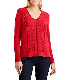 Chaps Cable Knit V-Neck Sweater