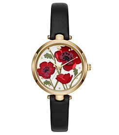 kate spade new york® Holland Poppy Black Leather Strap Watch