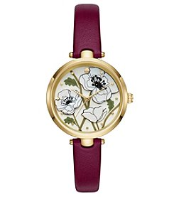 kate spade new york® Holland Poppy Red Leather Strap Watch
