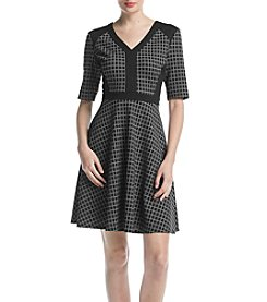 Gabby Skye Fit And Flare Plaid Print Dress