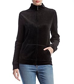 Studio Works Velour Stand Collar Front Zip Jacket