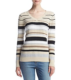 Studio Works Striped Baby Cable Knit Sweater