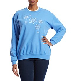 Morning Sun Plus Size Sparklng Stitched Snowflakes Sweater