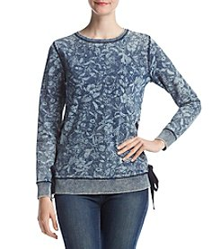 Ruff Hewn Floral Pattern Side Lace Up Pullover Sweater