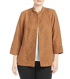 Alfred Dunner® Plus Size Laser Cutout Faux Suede Jacket