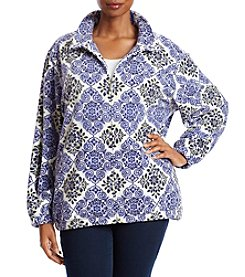 Alfred Dunner Plus Size Floral Diamond Polar Fleece