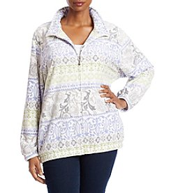 Alfred Dunner Plus Size Floral Polar Fleece