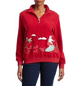 Alfred Dunner Plus Size Surfing Santa Sweater
