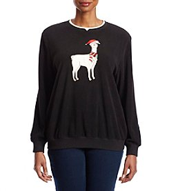 Alfred Dunner Plus Size Llama Holiday Detail Sweater