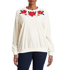 Alfred Dunner Plus Size Poinsettia Sweater