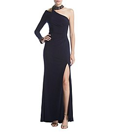 Xscape One Shoulder Choker Dress
