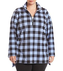 Exertek Plus Size Quarter Zip Chevron Pattern Microfleece Pullover