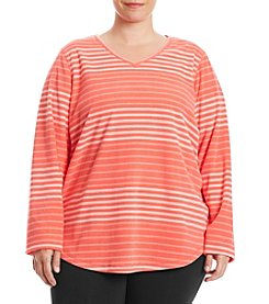 Exertek Plus Size Printed Microfleece V-Neck Sweater