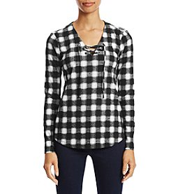Ruff Hewn Petites' Lace Up Plaid Tee