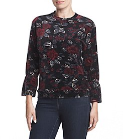 Ruff Hewn GREY Bell Sleeve Floral Pattern Top