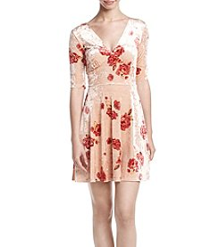Be Bop Floral Print Velvet Fit And Flare Dress