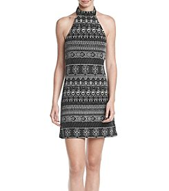 Be Bop Glitter Geometric Pattern Halter Dress