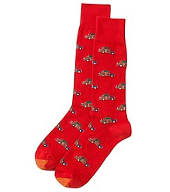 GOLD TOE Men's Christmas Tree on Car Dress Socks