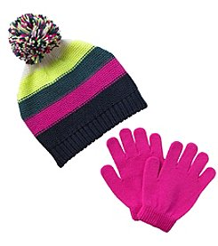 Miss Attitude Bright Stripe Beanie & Gloves
