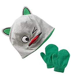 Statements Boys' 2T-4 Animal Face Hat & Mittens Set
