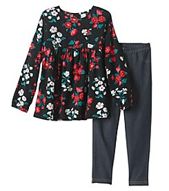 Carter's Girls' 4-8 Long Sleeve Floral Top And Jeggings Set