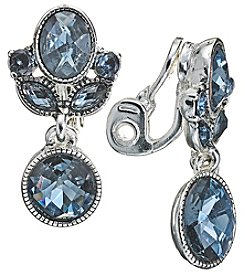 Napier Silvertone and Blue Double Drop Clip On Earrings