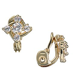 Napier Goldtone and Cubic Zirconia Button Clip-On Earrings