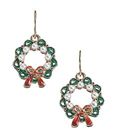 Studio Works Goldtone Wreath Drop Earrings
