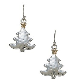 Studio Works Hammered Tree Drop Earrings