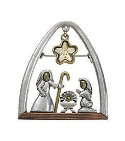 Studio Works Tri-Tone Nativity Scene Pin