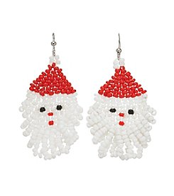 Studio Works Silvertone Beaded Santa Earrings