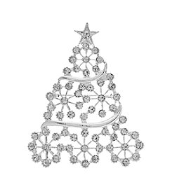 Studio Works Silvertone Snowflake Swirl Christmas Tree Pin