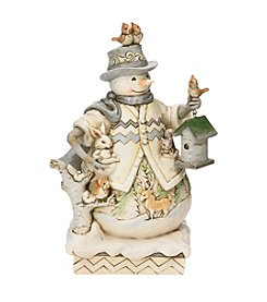 Heartwood Creek by Jim Shore White Woodland Snowman with Birdhouse Figurine