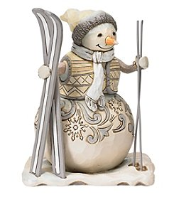 Heartwood Creek by Jim Shore White Woodland Snowman with Skis Figurine