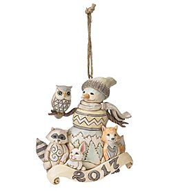 Heartwood Creek by Jim Shore 2017 White Woodland Snowman Ornament