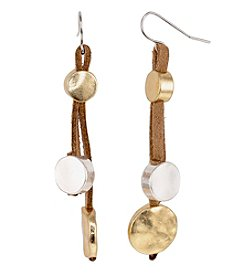 Relativity® Leather Earrings with Two Tone Discs
