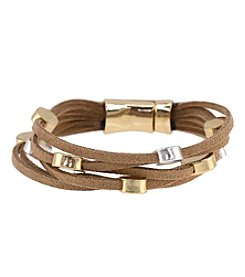 Relativity® Leather Multi Row Leather Bracelet with Two Tone Discs