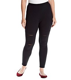 no comment™ Plus Size Rip-And-Repair Moto Leggings