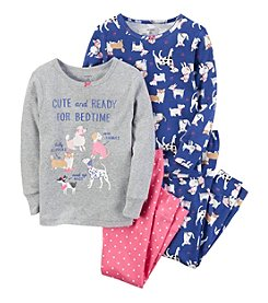 Carter's® Baby Girls' 12-24 Months 4-Piece Dog Snug Fit Cotton PJs