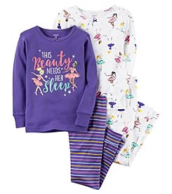 Carter's Girls' 2T-4T 4 Piece Ballerina Snug Fit Cotton PJs