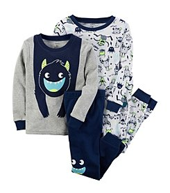 Carter's Baby Boys' 12M-24M 4 Piece Glow-In-The-Dark Snug Fit Cotton PJs