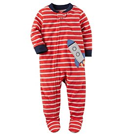 Carter's Baby Boys' 12M-24M One Piece Rocket Fleece PJs